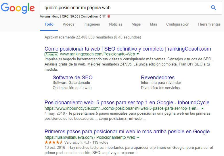 SERPs de Google
