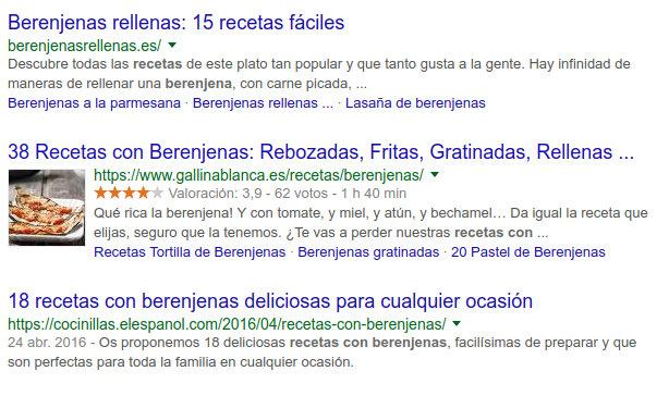 Pantallazo de SERPs de Google
