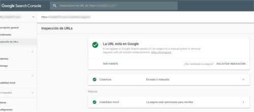Solicitar indexación desde Google Searcho Console en versión nueva