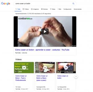 SERPs copadas por resultados de vídeo