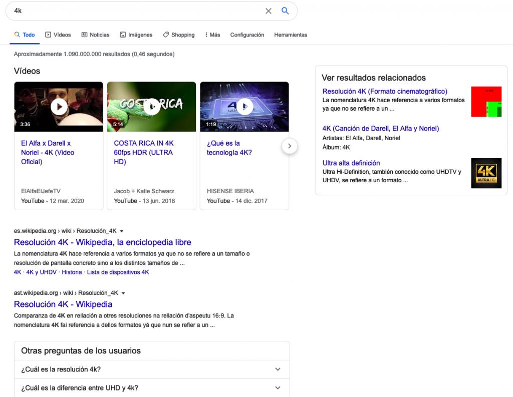 SERPs de Google con intención informativa