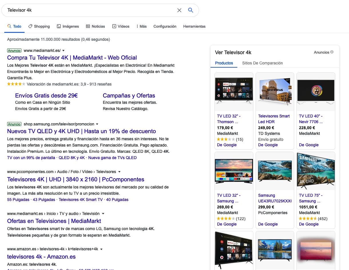 SERP de google con intención transaccional
